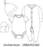 baby bodysuit and jumpsuit set. ... | Shutterstock .eps vector #1886452282