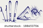mountains and ski equipments.... | Shutterstock . vector #188653706