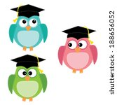 three owls with graduation caps ... | Shutterstock .eps vector #188656052