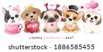 cute doodle dogs for valentine... | Shutterstock .eps vector #1886585455
