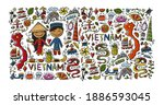 travel to vietnam. frame with... | Shutterstock .eps vector #1886593045