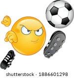 emoji emoticon playing soccer...   Shutterstock .eps vector #1886601298