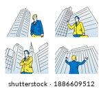businessman standing among...   Shutterstock .eps vector #1886609512