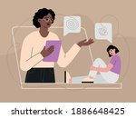 psychologist helping patient by ...   Shutterstock .eps vector #1886648425