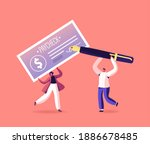characters with pay check. girl ... | Shutterstock .eps vector #1886678485