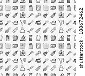 seamless doodle kitchen pattern | Shutterstock .eps vector #188672462