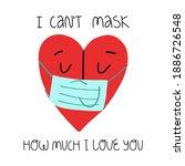 a cute heart character in face... | Shutterstock .eps vector #1886726548