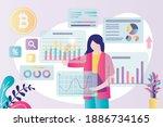 female trader analyzes data.... | Shutterstock .eps vector #1886734165