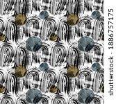 abstract monochrome wavy brush... | Shutterstock . vector #1886757175