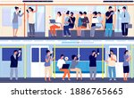 people in public transport.... | Shutterstock .eps vector #1886765665