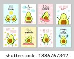 cartoon avocado cards. cute... | Shutterstock .eps vector #1886767342
