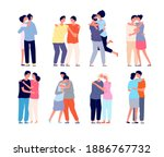 hugging people. embracing... | Shutterstock .eps vector #1886767732