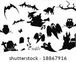 set of halloween items isolated ... | Shutterstock .eps vector #18867916