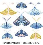 Vector Folk Art Moths Set...