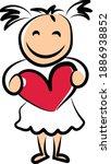 Cute Girl Holding Love Heart...