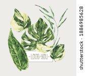 vector watercolor tropical... | Shutterstock .eps vector #1886985628