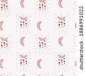 boho pattern with hearts. pink... | Shutterstock .eps vector #1886991022
