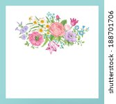 vintage floral vector card with ... | Shutterstock .eps vector #188701706