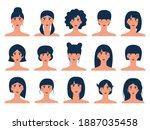 set of 15 brunette avatars with ... | Shutterstock .eps vector #1887035458