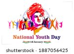 swami vivekananda jayanti... | Shutterstock .eps vector #1887056425