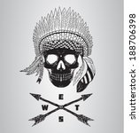 native american skull vector... | Shutterstock .eps vector #188706398