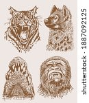 graphical sepia set of wild... | Shutterstock .eps vector #1887092125