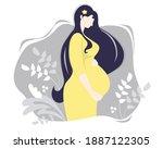 motherhood. happy pregnant... | Shutterstock .eps vector #1887122305