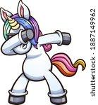 dabbing unicorn wearing... | Shutterstock .eps vector #1887149962