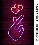 Neon Finger Heart. Korean Love...