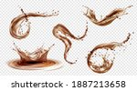 splashes of coffee  tea or cola ... | Shutterstock .eps vector #1887213658