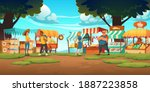 outdoor farm market with stalls ... | Shutterstock .eps vector #1887223858