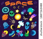 set of cool stickers on space... | Shutterstock .eps vector #1887263488