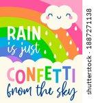 cute cloud cartoon and rainbow...   Shutterstock .eps vector #1887271138
