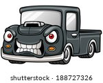 Vector illustration of Cartoon car pickup - stock vector