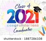class of 2021 year graduation... | Shutterstock .eps vector #1887286108