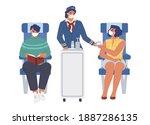 stewardess and passengers...   Shutterstock .eps vector #1887286135