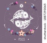 modern magic witchcraft card... | Shutterstock .eps vector #1887293065