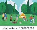 group of active people spending ... | Shutterstock .eps vector #1887303328