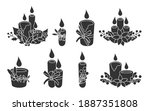set of glyph christmas candles... | Shutterstock .eps vector #1887351808