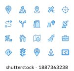 location line icon set. gps ...