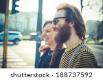 young modern stylish couple... | Shutterstock . vector #188737592