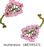 branch of cherry blossom on... | Shutterstock .eps vector #1887395272
