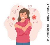 love yourself concept  woman... | Shutterstock .eps vector #1887395575