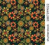 seamless 70's retro hippie... | Shutterstock .eps vector #1887399022