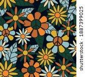 seamless 70's retro hippie...   Shutterstock .eps vector #1887399025