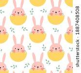 happy easter seamless pattern...   Shutterstock .eps vector #1887408508