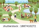 park picnic. family rest in... | Shutterstock .eps vector #1887410272