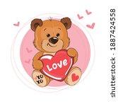 cute teddy bear holding a heart ... | Shutterstock .eps vector #1887424558