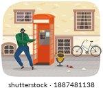 vandal damaging the telephone... | Shutterstock .eps vector #1887481138