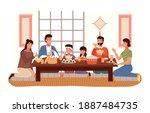 relatives eating japanese food. ... | Shutterstock .eps vector #1887484735